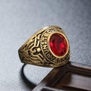 Retro Ronda De Piedras Preciosas Talladas Soldado Militar Del Ejército De Anillo De Acero De Titanio Para Hombres, Tamaño: 7, Diametro: 17,4mm, Perimetro: 55 Mm (rojo)