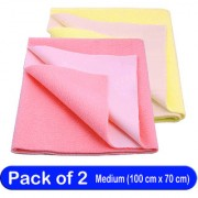 Glassiano Waterproof New Born Baby Bed Protector Dry Sheet Combo Medium Salmon Rose/Yellow (Pack of 2)