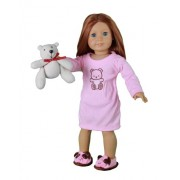"""Doll Clothes for American Girl Dolls: 3 Piece Night Gown Outift with Teddy Bear - """"Dress Along Dolly"""