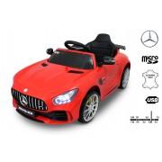 Mașinuță electrică pentru copii Mercedes-Benz GTR, Roșie,Licență Originală, Cu Baterii, Uși care se deschid, Scaun din Piele, 2x motoare, Baterie 12V, Telecomandă 2.4 Ghz, roți ușoare EVA, pornire Lină