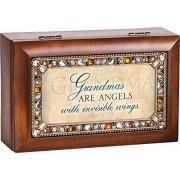 Grandmas Are Angels Jeweled Woodgrain Jewelry Music Musical Box Plays Tune Wind Beneath My Wings