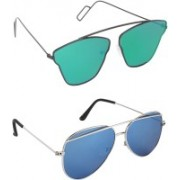 Pogo Fashion Club Aviator, Cat-eye, Retro Square Sunglasses(Green, Blue)