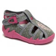 Sandale fetite cu catarama, din material textil, gri cu motiv brodat
