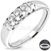 Cirkónia kristályos nemesacél eljegyzési gyűrű-8