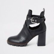 River Island Womens Black strappy cutout block heel boots (6)