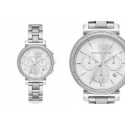 New Hall Watches £129 instead of £275 for a ladies' Michael Kors Sofie MK6575 quartz silver chronograph watch from Newhall Watches - save 53%
