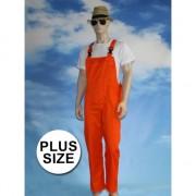 Grote maten oranje tuinbroek overall voor volwassenen