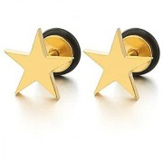 Tragus Cartilage Helix Piercing Gold Color Star Cut Stud Earrings Stainless Steel Unisex 2pcs