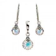 Srebrny komplet (kolczyki i wisiorek) z kryształami Swarovskiego KPL 2049 : Kolor - Crystal AB