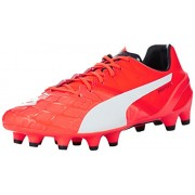 Puma Men's evoSPEED 1.4 FG Lava Blast, White and Total Eclipse Football Boots - 10UK/India (44.5EU)