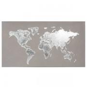 Maisons du monde Tela grigia mappa del mondo 110x60 SILVER