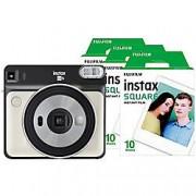 Fuji Instant Camera Instax Square SQ6 Pearl White + 1 x 10 Shot Film Pack + 1 x 20 Shot Film Pack