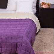 BŐRHATÁSÚ törtfehér-lila ágytakaró 140x240/235x250 cm