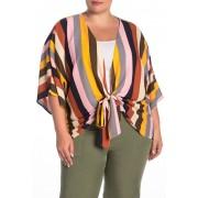 WEST KEI Striped Tie Front Kimono Plus Size MULTI STRP