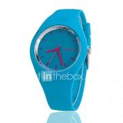 Dames Modieus horloge Vrijetijdshorloge Kwarts Silicone Band Zwart Wit Blauw Rood Orange Bruin Groen Roze Paars Geel roze