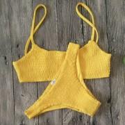 Traje De Baño Mujer D Tirantes Y Pliegue Bikini - Amarillo