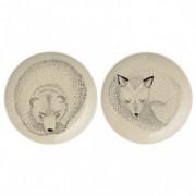 "Set 2 Farfurioare "" Bear / Fox "", Ø16 cm"