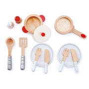 Hape Early Learning Wooden13 Piece Cook & Serve Set Playset 3 Years + Hape