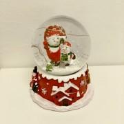 Karácsonyi elemes zenélő hógömb Hóember 12 cm