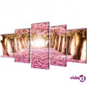 vidaXL Zidne Slike na Platnu s Printom Trešnjinog Cvijeta 200 x 100 cm