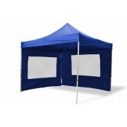 Összecsukható kerti parti sátor Profi –kék, 3 x 3 m + 2 oldalfallal