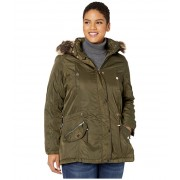 YMI Snobbish Plus Size Faux Fur Lined Parka with Faux Fur Trim Hood Olive