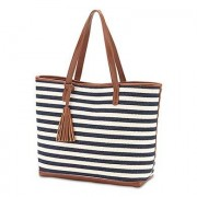 Confetti Shoulder Bag Tote - Navy And White Stripe Knit