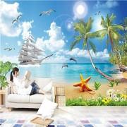 ponana Papel Tapiz Personalizado Para Paredes 3D Seaside Landscape Beach Photo Mural Wall Paper Living Room Tv Sofa Background Wall-350X250Cm