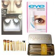 BELLA HARARO Naked3 Makeup Brushes Kit with Storage Box (Gold) Set of 12 with Flash eyelash and eyelash glue (Combo of 3
