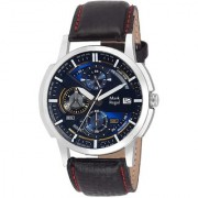 Mark Regal Round Dail Black Leather Strap mens Analog Watches