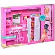 Set papusa Pretty Girl cu bucatarie frigider roz accesorii