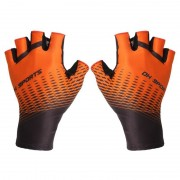 One Pair Half Finger Biking Gloves Shock-Absorbing Mountain Bike Gloves - Orange/Size: L