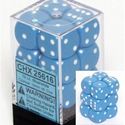 Chessex Dice d6 Sets: Opaque Light Blue with White - 16mm Six Sided Die (12) Block of Dice
