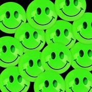 Kicko Glow in The Dark Smiley Face Balls - 144 Pieces of Green, Glowing and Bouncing Balls - Perfect Item for Playing, Stress Reliever, Novelties, Par