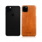 PIERRE CARDIN Genuine Leather Coated PC Back Phone Case for Apple iPhone 11 Pro Max 6.5 inch - Brown
