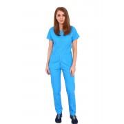 Costum medical turquoise, bluza cu fermoar cambrata, trei buzunare si pantaloni cu elastic