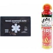 Kit siguranta rutiera Motor Starter and trade 5 ani valabilitate Trusa medicala auto prim ajutor + Stingator auto tip spray 1000 ml