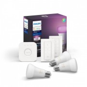 Philips Hue 8718699696917 Starter kit 3x LED žárovka + 2x ovladač Dimmer Switch + Bridge 9W E27 - White and Color Ambiance