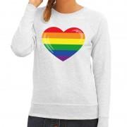 Shoppartners Gay pride regenboog hart sweater grijs voor dames