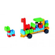 Hape Polym Zoo Keeper 'n Cars Building Blocks (40 Piece), Multicolor