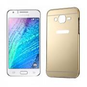 Wigento Aluminium stötfångare 2 bitar med cover guld för Samsung Galaxy J1