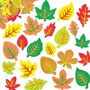 Baker Ross Leaf Stickers - 144 coloured foam stickers. 6 assorted colours printed on white self-adhesive foam. 12 assorted leaf shapes. Size 25mm - 45mm.