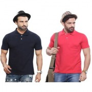 Kundan Sulz Gwalior's Exclusive for Men's 100% Pure-Cotton Polo Neck T-Shirt-Navy Blue & Light Pink ( Rani ) ( Pack of 2 T Shirt )