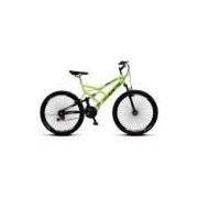 Bicicleta Colli Fulls GPS Amarelo Neon Dupla Susp. Aro 26 Aero 72 Raios 21 Marchas Freios V-Break