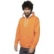 Gildan Oranje/witte heren truien/sweaters met hoodie/capuchon