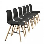 [en.casa] Set de 6 sillas de comedor negras con estampado - silla de diseño retro