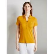 TOM TAILOR Polo shirt met klein borduursel, Dames, deep golden yellow, XXL