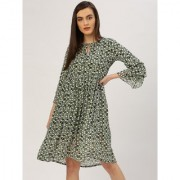 Jaipur Kurti Women's A-Line Green Floral Print Georgette Lining Dress