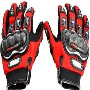 Full Finger Pro Biker Riding Glove (XXL size Red Black)