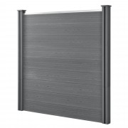[neu.holz] ® Ограда, комплект от 9 броя плоскости с 2 колони, 183 x 187 cm, Сива